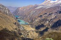 The Llanganuco lakes of Chinancocha and Orconcocha seen from Portachuelo Pass, Cordillera Blanca, Ancash, Peru.