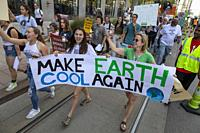 Detroit, Michigan, USA - 20 September 2019 - Youth lead a march and rally, part of the Global Climate Strike. They were part of a movement in more tha...