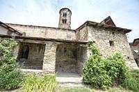 Romanesque church in San Martin de Ars with the round belfry Valira valley in Alt Urgell Lleida Catalonia Spain.