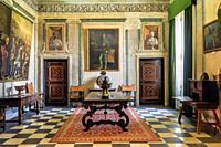 Hall in the General Archive of the Navy in the palace of the Marquis of Santa Cruz is a building located in the municipality of Viso del Marques, Ciud...