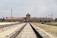 Rail entrance to concentration camp at Auschwitz Birkenau KZ Poland March 12, 2019 war.
