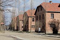 Auschwitz-Birkenau, Poland - March 12, 2019: barracks for the prisoners concentration camp war.