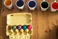 Colorful easter eggs. Coloring. Preparation of the Easter, painting eggs, colorful.
