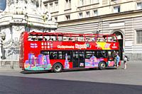 A tourist hop-off hop-on bus in Naples, Italy.