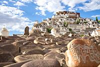view at Thiksey monastery with 'om- -mani-padme-hum' at stones in Ladakh, India