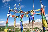view at Indus valley with prayer flags from Thiksey monastery, Ladakh, India