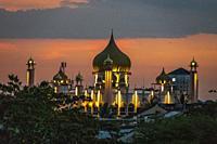 View of The Kuching Old mosque from Darul Hana bridge at dusk, Sarawak, Malaysian Borneo, Malaysia, Southeast Asia, Asia