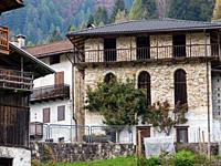 Traditional architecture of the Primiero. Val Lozen in the dolomites of Primiero in the Trentino. Europe, Central Europe, Italy.