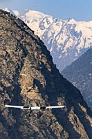 Aircraft of Tara Air is taking off from Jomsom to Pokhara, LOwer Mustang, Nepal.