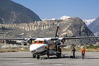 Aircraft of Summit Air in Jomsom airport, Lower Mustang, Nepal.