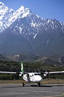 Aircraft of Tara Air at Jomsom airport, Lower Mustang, Nepal.