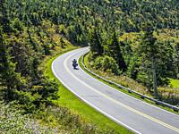Mount Mitchell State Park Road leading to top of Mount Mitchell highest mountain in Eastern UNited Staes in the Appalachian Mountains of North Carolin...