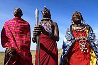 Group of Massai men and women singing and dancing, Masai Mara National Reserve, Kenya.