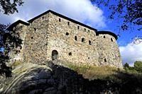 Medieval Raseborg Castle Ruins against sky in autumn. Raseborg Castle was built in 1370s on a rock that was surrounded by water at the time. Snappertu...