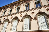 Very old decorated building in Calle del Pestrin. Venice. Veneto. Italy.