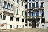 Very old decorated buildings in Campo San Anzolo. Sestiere San Marco. Venice. Veneto. Italy.