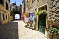 Entrance of a residential home in Corte de le Colone. Sestiere Castello. Venice. Veneto. Italy.