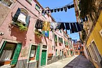 Residential homes in Corte de le Colone. Sestiere Castello. Venice. Veneto. Italy.