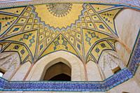 Ceiling decoration detail. Agha Bozorg mosque. Kashan, Iran. Asia.