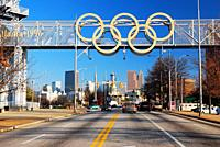 The Olympic Rings hang over the skyline of Atlanta Georgia, home of the 1996 Summer Games.