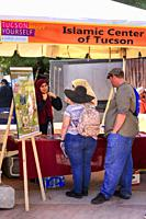 Islamic Center of Tucson awareness booth at the Tucson Meet Yourself Festival in Arizona.