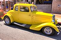 Yellow customized 1934 Ford on display at the Tucson Meet Yourself Folklife Festival Car show.