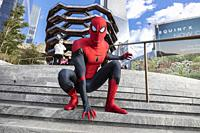 Spiderman in front The Vessel in the Hudson Yards area. New York . USA- Oct 6, 2019.