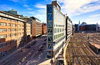 Flatiron building which stands between Torsgatan and Stockholm's main railway station, Norrmalm, Stockholm, Sweden The wedge shaped building named aft...