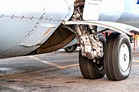 Kahmandu, Nepal - October 5 2019: Tyre of a small plane.