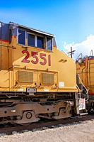 2551 Union Pacific GW6000CW locomotive at the Tucson rail yard in Arizona.