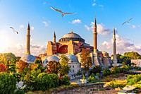 Hagia Sophia view, sunny day in Istanbul.