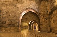 The northern hall of the Hospitallerian citadel in Akko, Israel, Middle East.