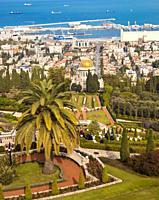 Bahai Gardens at Mount Carmel in Haifa, Israel, Middle East.