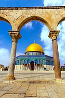 Dome of the Rock Islamic Mosque Temple Mount, Jerusalem, Israel, Middle East.