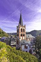 View of the St. Peterâ. . s Church in the old town of Bacharch. Rhine Valley, Rhineland-Palatinate, Germany, Europe.