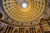 Wide Dome Pillars Altar Wide Pantheon Rome Italy Rebuilt by Hadrian in 118 to 125 ADthe Second Century Became oldest Roman church in 609 AD. Oculus, h...