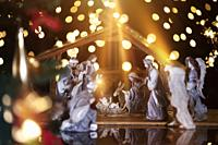 Christmas Manger scene with figurines including Jesus, Mary, Joseph, sheep and wise men. Focus on baby!.