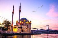 Famous Ortakoy Mosque at sunrise, Istanbul, Turkey.
