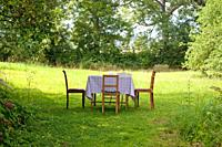 Picnic table and chairs in the garden.