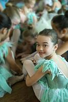 Young girls before their ballet performance.