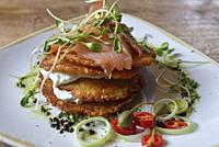 potato pancakes with smoked salmon and curd, Grey restaurant, Pilies Street 2, Vilnius, Lithuania, Europe.