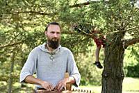 Dovyadas Lipinskas, Kankles player, Lithuanian plucked string instrument, Siauliai, Lithuania, Europe.