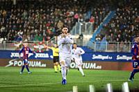 EIBAR, SPAIN - NOVEMBER 9, 2019: Sergio Ramos, Real Madrid player, celebrates his goal in a Spanish League match between Eibar and Real Madrid at Ipur...