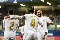EIBAR, SPAIN - NOVEMBER 9, 2019: Sergio Ramos (C), Carvajal (R) and Karim Benzema (L), Real Madrid players, celebrate the goal in a Spanish League mat...