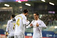 EIBAR, SPAIN - NOVEMBER 9, 2019: Sergio Ramos (R) and Lucas Vazquez (L), Real Madrid players, celebrate the goal in a Spanish League match between Eib...