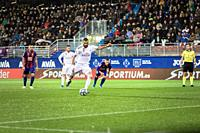 EIBAR, SPAIN - NOVEMBER 9, 2019: Karim Benzema, Real Madrid player, scores the goal in a Spanish League match between Eibar and Real Madrid at Ipurua ...