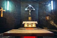 Altar in Saint Barbara Chapel in salt mine in Cacica (Polish Kaczyka) village located in Suceava County, Bukovina region in Romania.