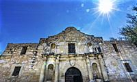 Sun Rays Alamo Mission San Antonio Texas. Site 1836 battle between Texas patriots, such as Travis, Bowie, and Crockett, killed by Mexican army and San...