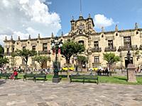Plaza de Armas with Palacio de Gobierno del Estado de Jalisco (Jalisco State Government Palace) in the background. Guadalajara (GDL), Jalisco, Mexico.