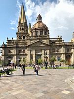 Plaza de Armas with Catedral de Guadalajara (Guadalajara Cathedral) in the background. Guadalajara (GDL), Jalisco, Mexico.